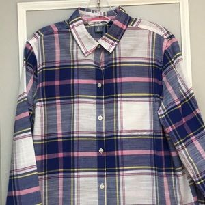 Classic Plaid Button-Front Shirt- Old Navy